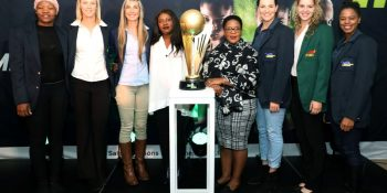 Simphiwe Sithebe, Zanne-Marie Pienaar of the Fire Balls, Rochelle Loubser of the Southern Stings, Khudzi Mathabire, Netball South Africa (NSA) President Mimi Mthethwa, Shadine van der Merwe of the Jaguars,Chante Bester of the Flames and Tshina Mdau of the Jaguars during the 2017 Brutal Fruit Netball Premier League Captains Engagement at the The Vanue, Johannesburg South Africa on 05 June 2017 ©Muzi Ntombela/BackpagePix