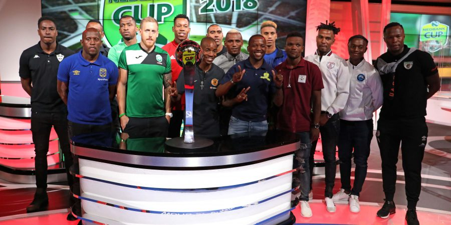 Players Group Picture during the 2018 Nedbank Cup Last 16 Draw at SuperSport Studios, Johannesburg South Africa on 15 February 2018 ©Muzi Ntombela/BackpagePix